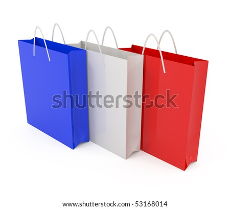 Paper bags colored - 3d illustration
