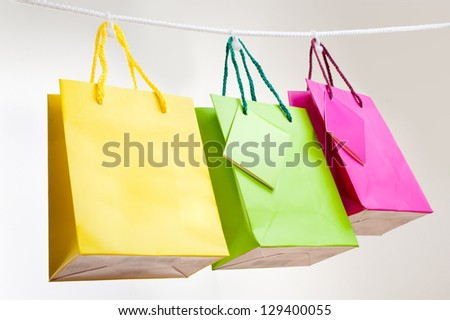 paper bags for clothes pins, white background