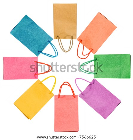 Paper bags isolated on white (clipping path) - stock photo