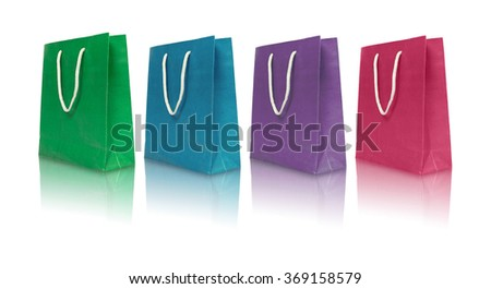 Paper bags with refection on white background