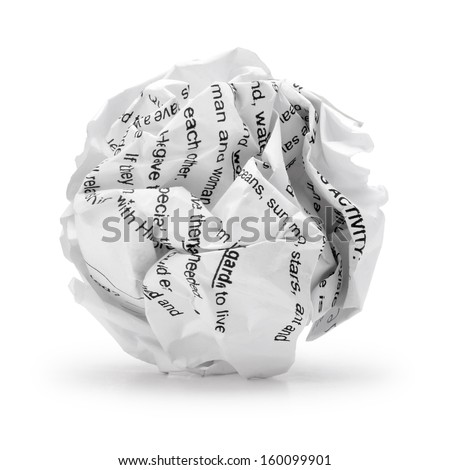Paper ball - Crumpled sheet of print text script writing paper isolated ., A screwed up piece of paper in round shape., Junk paper can be recycle on white background. - stock photo