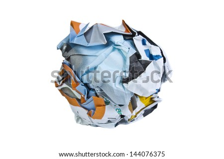 Paper ball on white background. - stock photo