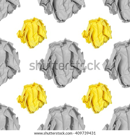 paper ball on white background pattern background seamless design - stock photo
