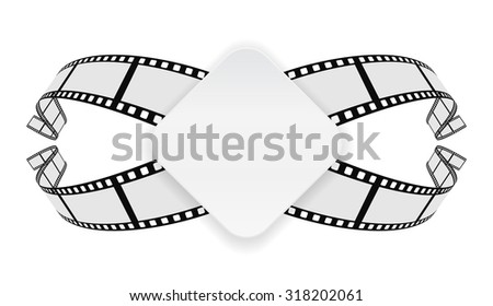 paper banner on film reel abstract background - stock photo