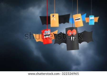 Paper bats of Halloween. - stock photo