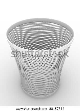 Paper bin in white. Container for crumpled paper. Illustration