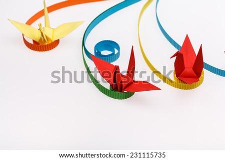paper bird, origami bird. - stock photo