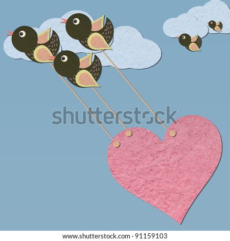 Paper Birds flying pull the heart on sky - stock photo