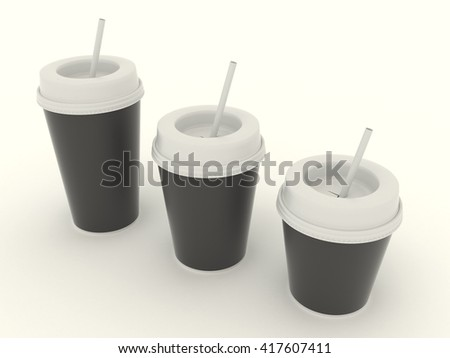 Paper black cups group with a straw. Cardboard cup set  with clear template for design. High resolution 3d illustration