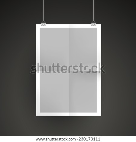 paper blank brochure template hanging over wall