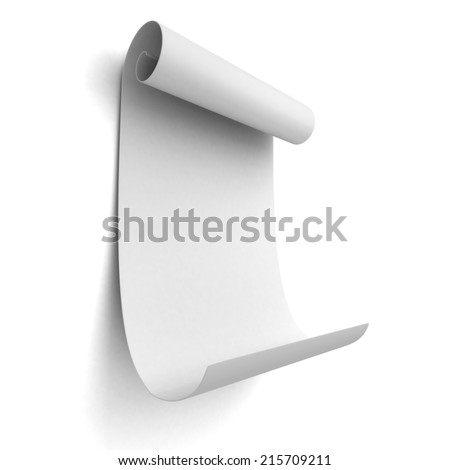 Paper blank scroll on white background wall. 3d render illustration - stock photo
