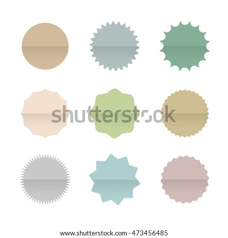 Paper Blank Stickers and Tags Isolated on White Background