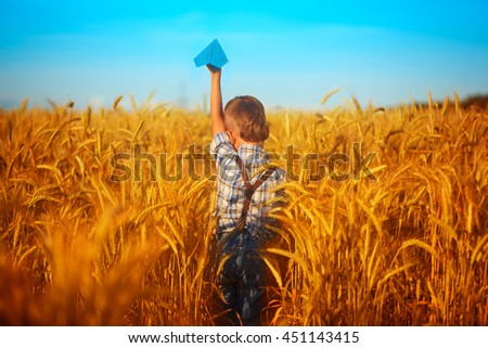 Paper blue airplane in children hands on yellow wheat field  and blue sky in summer  day. Back view. - stock photo