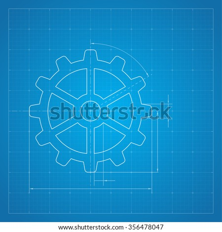 Paper blueprint background gears symbol on stock illustration paper blueprint background gears symbol on the drawing paper concept of motion and mechanics malvernweather Images