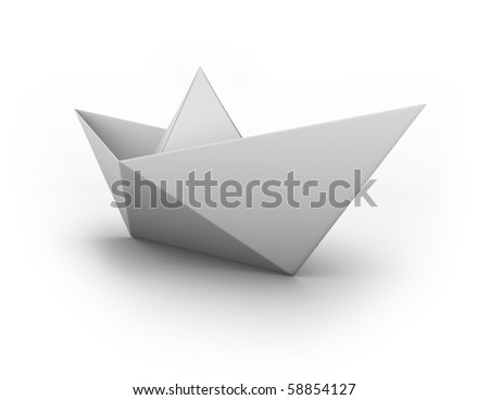 paper boat - stock photo