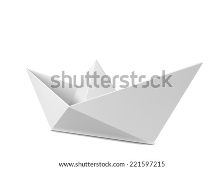 Paper boat. 3d illustration isolated on white background