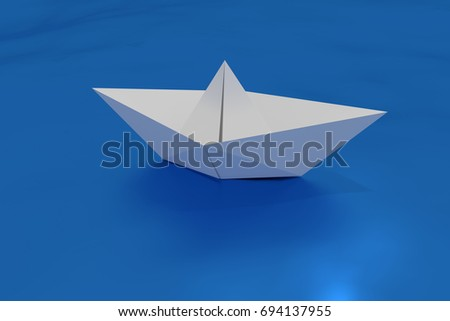 paper boat floating on a wavy sea. craft made origami ship floating in the water. 3d render, 3d illustration