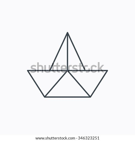 Paper Boat Icon Origami Ship Sign Sailing Symbol Linear Outline On White