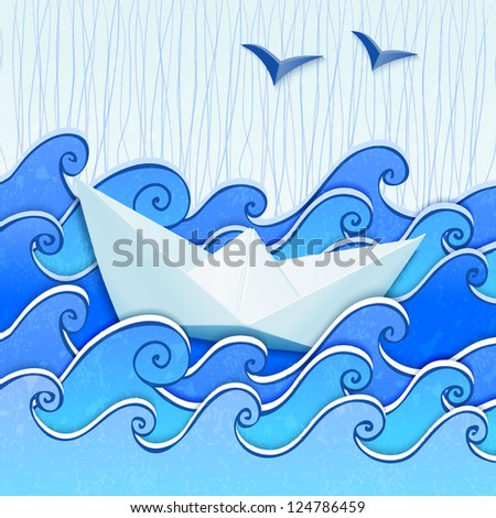 Paper boat in the blue sketched paper sea with rain and seagulls. Vector file also exist in portfolio. - stock photo