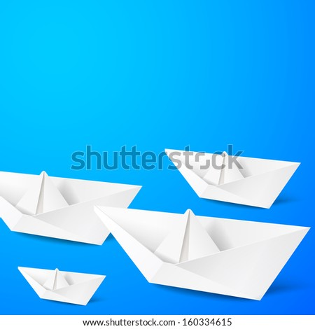 Paper boat on blue background.  illustration.