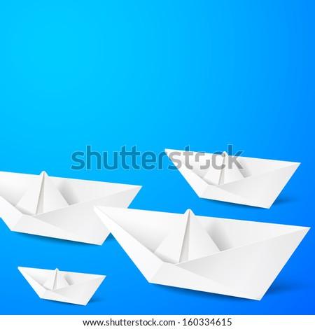 Paper boat on blue background.  illustration. - stock photo