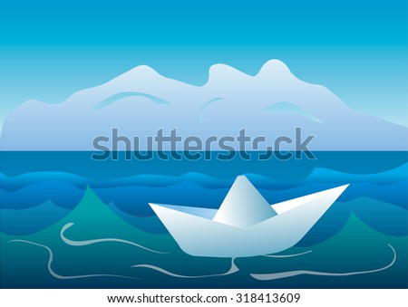 Paper boat on the sea.