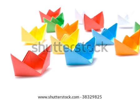 Paper boats - stock photo