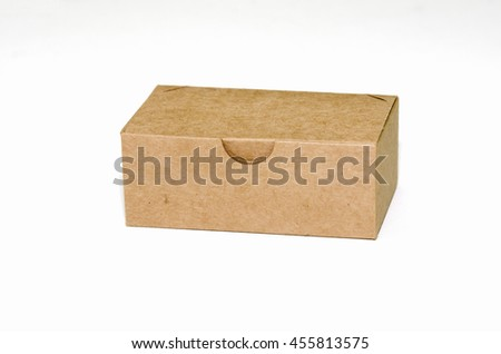 Paper box package on white background, Soft focus.