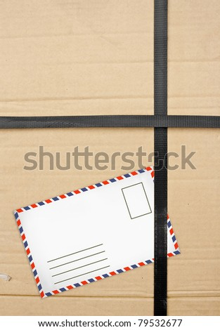 Paper box package with Old envelopes. closeup Useful as background for design-works - stock photo
