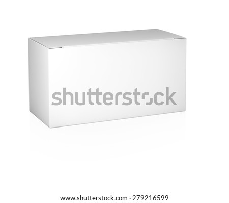 Paper box template isolated on white background - stock photo