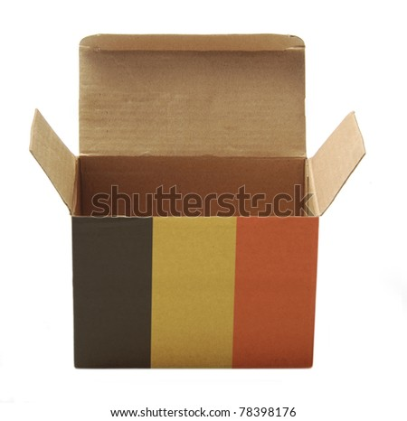 paper box with Belgium flag isolated on white background