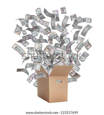 paper box with flying dollars - stock photo