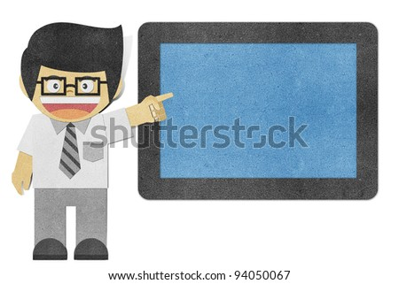 Paper boy ( Business man )  recycled papercraft - stock photo