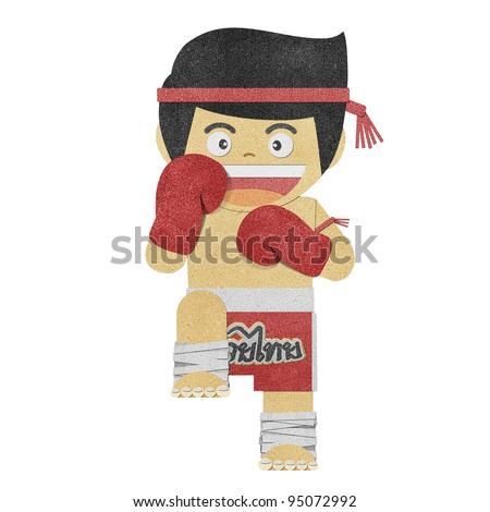 Paper boy ( muay thai kick Boxer ) recycled papercraft - stock photo