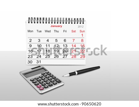 Paper calendar, calculator and pen isolated on white - stock photo