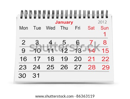 Paper calendar isolated on white (january 2012) - stock photo