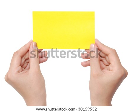 paper card in hands isolated on white
