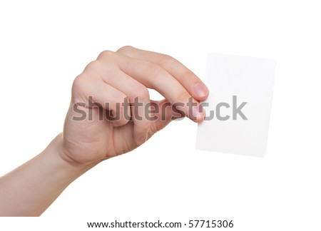 Paper card in man hand isolated on white background - stock photo