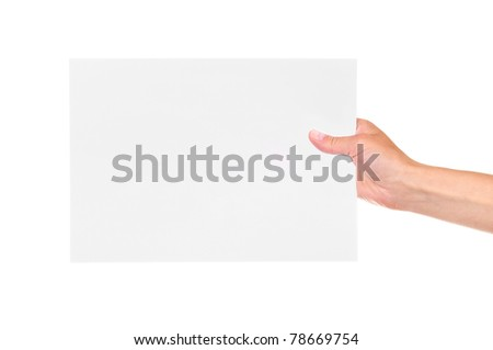 Paper card in woman hand isolated on white background - stock photo