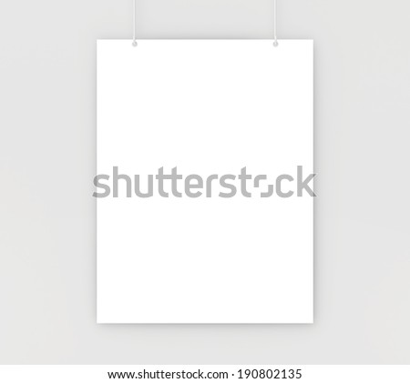 paper card on a white wall. white blank paper - stock photo