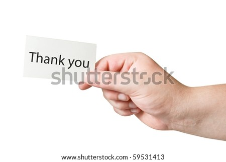 paper card with text Thank You in human hand isolated with path