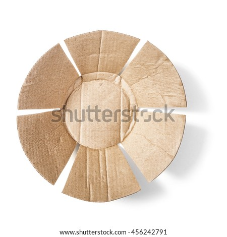 Paper cardboard plate shape. Packaging material. Object isolated on white background with clipping path. Top view, flat lay - stock photo