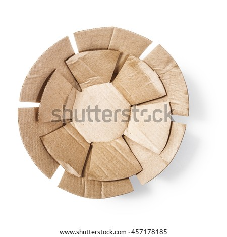 Paper cardboard plates shape. Packaging material. Object isolated on white background with clipping path. Top view, flat lay - stock photo