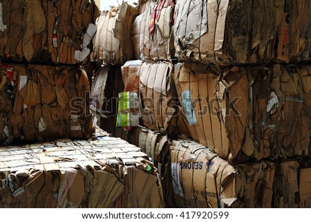 paper carton box garbage as nice recycle background - stock photo