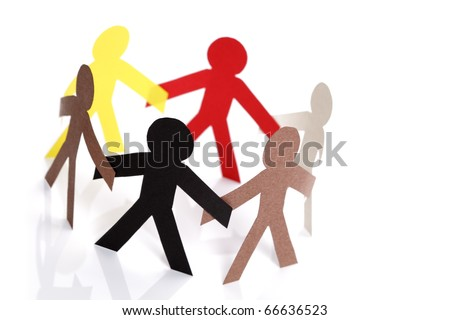 Paper chain cutout people - concept for multiracial group or team - stock photo