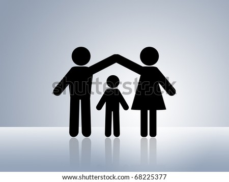 paper chain figures child protection safe happy family warm home young family father mother and child silhouette protect son daughter raising kids by parents - stock photo
