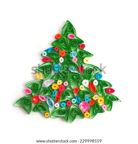 Paper Christmas tree, hand made. Technique of paper quilling. Ready for your text or Greeting card. Isolated on white background - stock photo