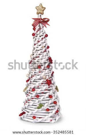 Paper Christmas tree with yellow star - stock photo