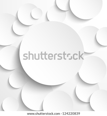 Paper circle banner with drop shadows. Raster version - stock photo