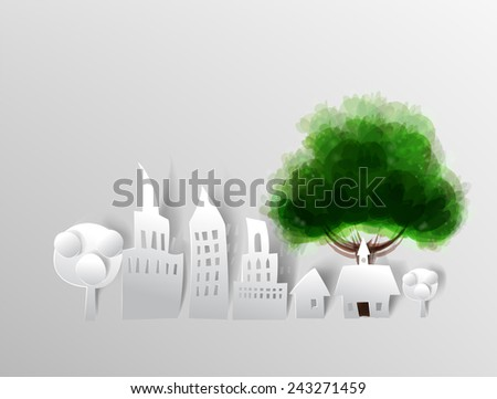 Paper city background with green tree - stock photo